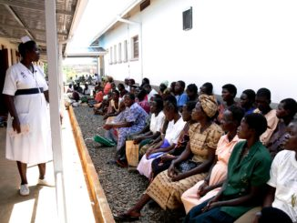 Midwife provides health education for pregnant women in uganda